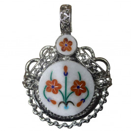 White Marble Inlaid With Semi Precious Gemstones Handmade Jewelry For Girls Floral Inlay Art Work