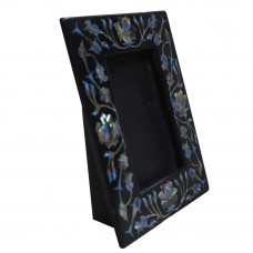 Black Marble Photo Frame Inlaid Semi Precious Stones