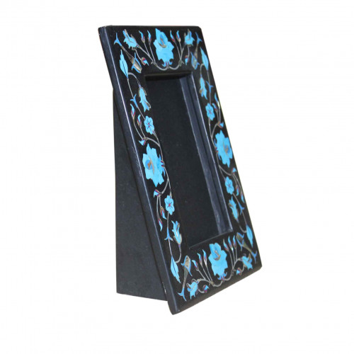 Black Marble Photo Frame Turquoise Floral Arts Inlay Mosaic Decorative Gifts
