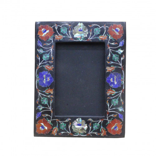 Black Marble Photo Frame Real Hakik Stone Marquetry Inlay Home Decor Gifts
