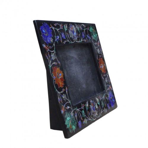 Photo Frame Black Marble Semi Precious Stone Marquetry Inlay Home Decor Mosaic