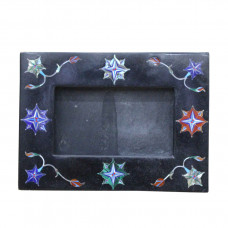 Black Marble Photo Frame Rare Paua Shell Stone Inlay Pietra Dura Decor Gifts Arts