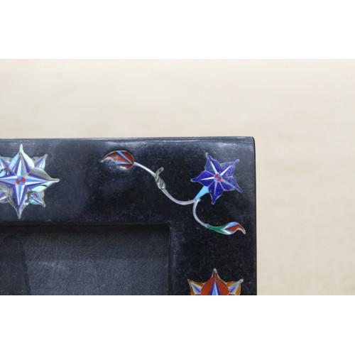 Black Marble Photo Frame Rare Paua Shell Stone Inlay Pietra Dura Decor Gifts Arts