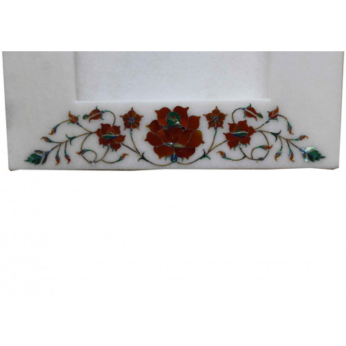 Marble Photo Frame Floral Inlay Picture Frame Pietra Dura Table Decorative Gift