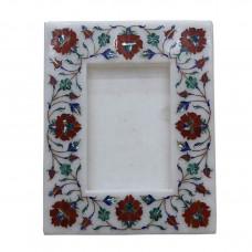 White Marble Photo Frame Multi Gemstone Marquetry Inlay Work Pietra Dura Mosaic