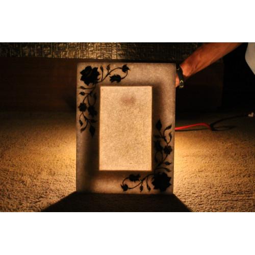 White Marble Photo Frame Real Lapislazuli Semiprecious Stone Inlay Work Floral Art