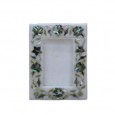 White Marble Photo Frame Rare Gemstone Marquetry Inlay Art Home Gift Decorative