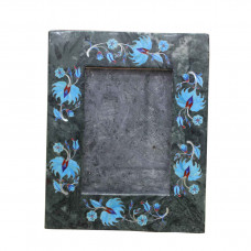Green Marble Photo Frame Semi Precious Stones Inlay Work Pietra Dura Floral Design