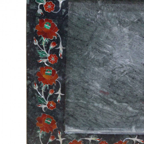 Green Marble Inlaid Photo Frame Multi Color Marquetry Inlay Work Home Decorative