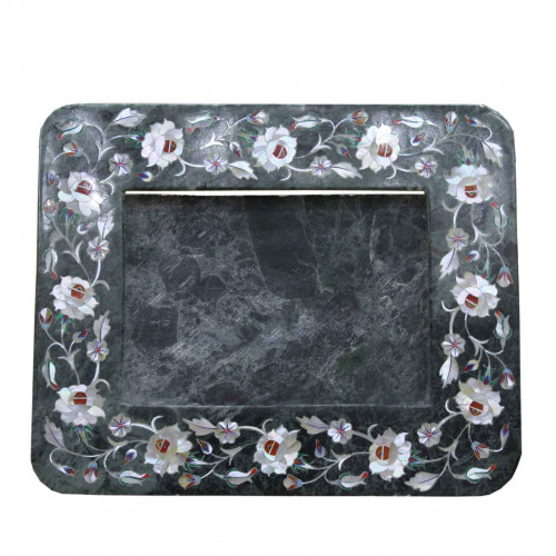 Green Marble Photo Frame Semiprecious Stone Inlay Decorative Gifts Marquetry