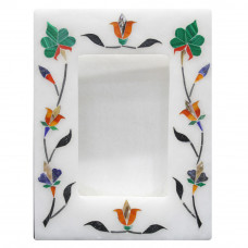 Indian Stone Art White Alabaster Marble Inlay Photo Frame