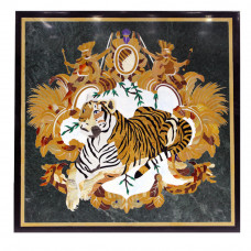 Wood Inlay Tiger Panel For Home Decor