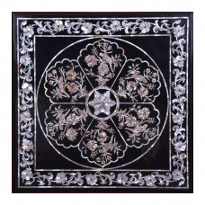 """Black Marble Inlay Side Table Top 29"""" x 29"""" Inches 