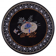 Round Side Table Top Inlaid With Semi Precious Gemstones | Antique Art Piece For Home and Office