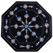 Octagonal Black Mable Inlay Side Table Top With Floral Inlay Crfat Decorated With Semi Precious Gemstones