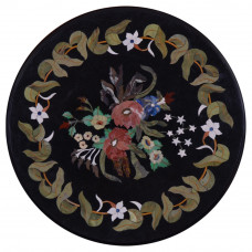 Round Black Marble Side Table Top Handmade Marble Table Top Inlaid With Semi Precious Gemstones