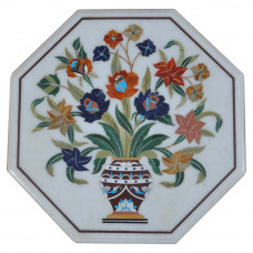 Tree of Life White Marble Inlay Side Table Top Antique Art Piece For Home Decor / Home Furniture