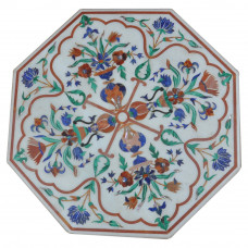 White Marble Octagonal Shape Side Table Top Inlaid With Semi Precious Gemstones  Handmad Piece For Home Decor