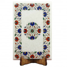 Rectangular White Marble Inlay Side Table Top Perfect Inlay Pietra Dura Work Floral Craft Design