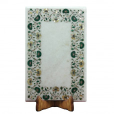 Rectangular White Marble Inlay Table Top Decorated With Semi Precious Gemstones