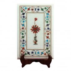 Handmade Marble Side Table Top Decorative Art Piece Inlaid With Semi Precious Gemstones