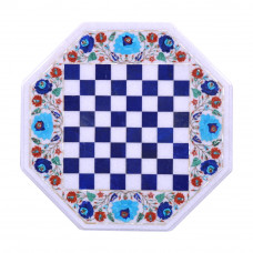 Pietra Dura Chess Table Top Inlaid With Semi Precious Gemstones Octagonal Shape Made By Indian Artisan