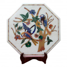 Marquetry White Marble Inlay Side Table Top Bird Design Inlaid With Semi Precious Gemstones Antque Piece