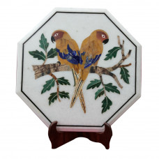 Mosaic White Marble Inlay Side Table Top Beautiful Parrot Design Inlaid With Semi Precious Gemstones
