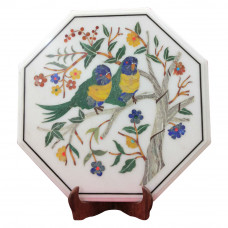 Marquetry White Marble Inlay Side Table Top Pair of Parrot Design Decorated With Semi Precious Gemstones