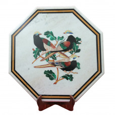 Beautiful Design White Marble Inlay Side Table Top | Handmade Pietra Dura Inlay Craft Work For Home Decor