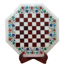 White Marble Inlay Chess Table Top Inlaid With Semi Precious Gemstones A Unique Art Piece For Home Decor