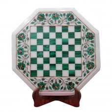 Stone Chess Table Top White Marble Inlaid With Semi Precious Gemstones Handmade Chess Table Top For Home - Note: Now You Can Ask Offer Price