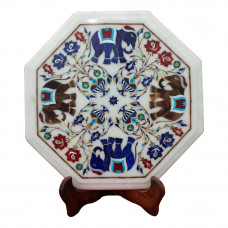 Marquetry Elephant Design Side Table Top Inlaid With Semi Precious Gemstones Unique Inlay Art Piece