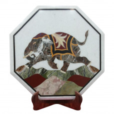 Elephant Design Side Table Top White Marble Inlaid With Semi Precious Gemstones Octagonal Shape Table Top