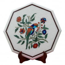 Handmade White Marble Inlay Side Table Top With Beautiful Parrot Design Decorated With Semi Precious Gemstones