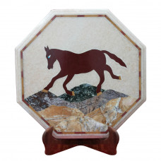 Pietra Dura Horse Design Side Table Top Inlaid With Semi Precious Gemstones Best For Home Furniture