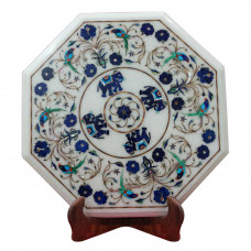 Home Furniture White Marble Inlay End Table Top Decor With Semi Precious Gemstones Pietra Dura Inlay Craft Work Handmade Art Piece For Home