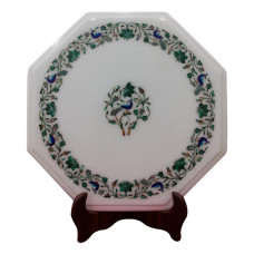 """Octagonal Side Table Top 15"""" x 15"""" Inches Inlaid With Semi Precious Gemstones Beautiful Peacock Design 