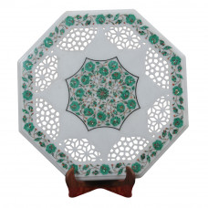 Inlaid Side Table Top White Marble Inlaid With Semi Precious Gemstones With Filigree Hand Work / Pietre Dure Side Table Top For Living Room