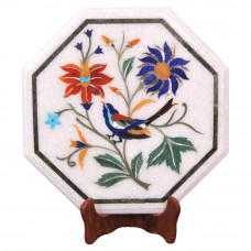 End Table Top /  Side Table Top / Bedside Table Top /  Pietra Dura Table Top /  Inlaid Semi Precious Gemstones / Made By Indian Artisan