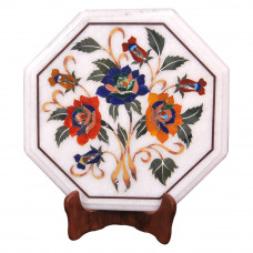 Floral Inlay Craft White Marble Side Table Top / Pietra Dura Craft Work Handmade Art Piece For Home Decor / Home Furniture