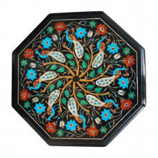 Black Marble Side Table Top With Peacock Design Inlay Art Work