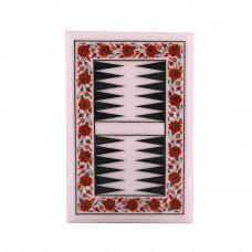 Decorative White Marble Backgammon Board Inlaid Carnelian Gemstone
