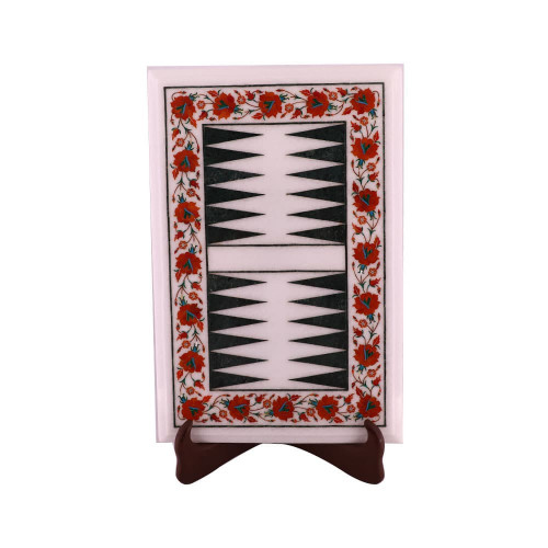 Decorative White Marble Backgammon Board Inlaid Carnelian Gemstone