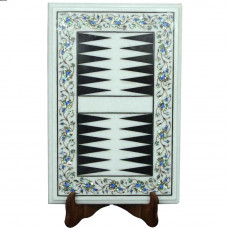 White Marble Classics Eco-Friendly Backgammon Game Inlaid Stones