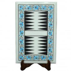 Turquoise White Marble Backgammon Game Inlaid Semiprecious Stones