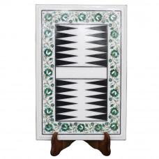 Pietra Dura Art Backgammon Game White Marble Board