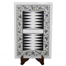 Deluxe White Marble Backgammon Inlaid Semiprecious Stones