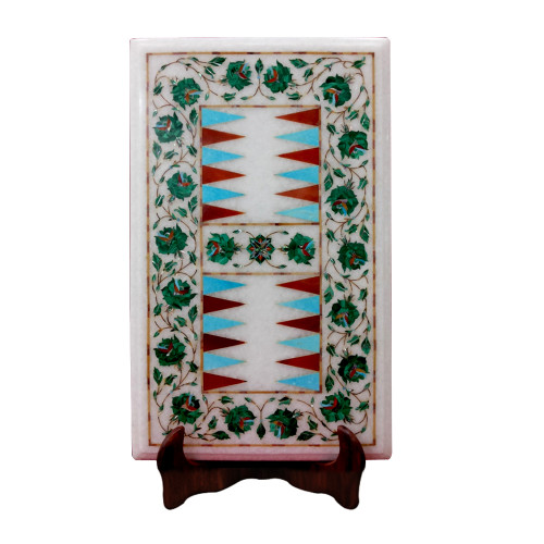 White Marble Inlay Backgammon Game Inlaid With Semi Precious Gemstones Floral Inlay Craft Work Pietra Dura Inlay Work