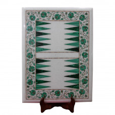 Inlaid White Marble Backgammon Game With Floral Craft Art Pietra Dura Decorated With Semi Precious Gemstones